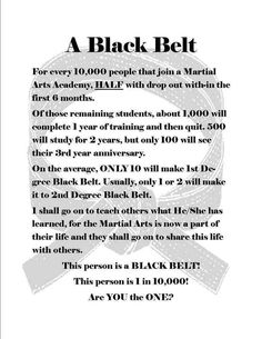 Are you that 1 in 10,000 that will make it to black belt? It takes #dedication #perseverance #commitment http://al42.qr.ai