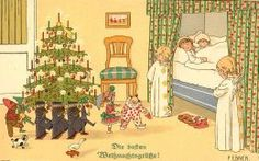 Vintage Christmas cards: antique toy soldiers and other toys