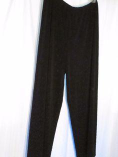 CHICO'S DESIGN 2 (M) BLACK FULLY BEADED TRAVEL KNIT 30x26 PANTS -$24.00 #Chicos #DressPants