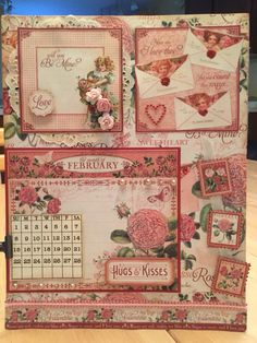 The February board I made using Graphic 45 Time to flourish paper.