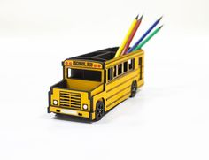 Unique desk storage for crafts, stationery & pens holder 'School bus' office…