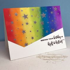 my Ink well: Bright & Brilliant Birthday Rainbow Card, Rainbow Colors, Happy Birthday Wishes Cards, Birthday Cards, Paper Cards, Diy Cards, Distress Ink Techniques, Pretty Cards, Color Card