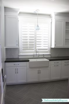 "Sunny Side Up: Downstairs Laundry Room — White cabinets with Caesarstone in ""Co… – Modern Farmhouse Sink White Shaker Kitchen, White Shaker Cabinets, White Kitchens, Dream Kitchens, Laundry Room Bathroom, Laundry Room Design, Laundry Rooms, Laundry Cupboard, Mud Rooms"