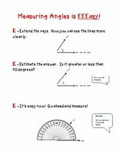 Measuring Angles is EEEasy! Common Core Math Standards, Protractor, Math Journals, 4th Grade Math, 90 Degrees, Teacher Newsletter, Teacher Pay Teachers, Anchor Charts, It's Easy