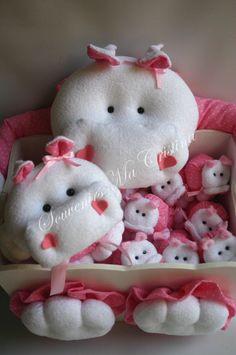 Caja decorada hipopótamo + central + souvenirs nacimientos , bautismos