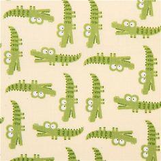 light yellow crocodile zoo animal fabric Peek-a-Zoo Timeless Treasures 1