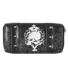 Metal Mulisha Absent Wallet. Skull. Sacred Heart. Black Leather. Studs.