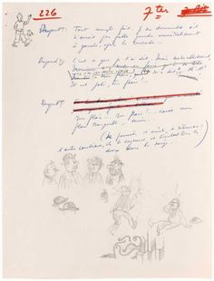 Sketches and dialogue written by Herge for Belvision's animated feature Tintin…