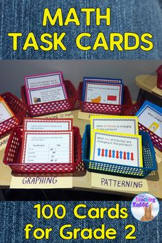 100 Math Task Cards for Second Grade.  These cover addition, subtraction, graphing, time, probability, fractions and more!