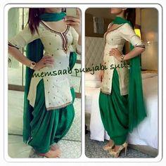 Punjanbi suit ♡ Indian Suits, Indian Attire, Indian Dresses, Indian Wear, Punjabi Fashion, Indian Bridal Fashion, India Fashion, Women's Fashion, Punjabi Dress