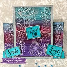 Stepper card made using Crafter's Companion 3D Embossing Folder - Ornate Lace. Designed by Linda Fitzsimmons #crafterscompanion