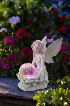 Moonrays 92454 Solar Color-Changing LED Light Sitting Pixie with Globe Angel Garden Statues, Fairy Statues, Garden Angels, Outdoor Garden Lighting, Outdoor Gardens, Garden Figurines, Landscaping Images, Fairy Doors, Color Changing Led