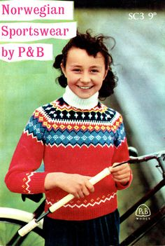PDF Vintage 1950s P and B Girls Knitting Pattern, Norwegian Polo Neck Sporting Jumper, Retro, Fair Isle, Folk, Childrens, Kids, x  Instant Download!   To Knit a Darling Girls Norwegian Sporting Sweater!  Norwegian themed in Multi-Coloured Jacquard Pattern In Autumnal Traditional Cheery Shades All manner of Blues, Yellows, Black & White on Red  Both on the Yoke & over the Shoulders Raglan Inset Sleeves Patterned Cuffs & Welt  Fitted & Comfy  & a Large Oversized Polo-Neck in...