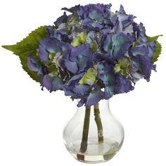 Silk Hydrangea Centerpiece, Blue Purple