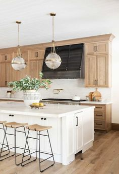 Natural Wood Kitchen Design - Studio McGee - - Our latest kitchen design inspired by natural elements. Diy Kitchen Cabinets, Kitchen Tops, Kitchen Redo, New Kitchen, Kitchen Interior, Green Cabinets, Kitchen Remodeling, Awesome Kitchen, Natural Wood Kitchen Cabinets