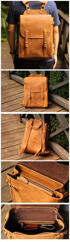 Backpacking Handmade Leather Backpack Travel Backpack Laptop Backpack