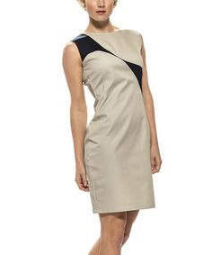 Loving this Khaki & Navy Contrast Sleeveless Dress on #zulily! #zulilyfinds