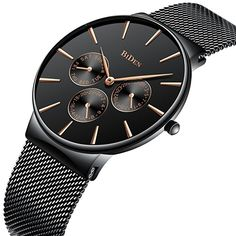 Quartz Watches Mini Focus Classic Dress Quartz Mens Watches Top Brand Luxury Black Mesh Strap 3 Sub-dial 6 Hands Date Display Ultra Thin Watch Carefully Selected Materials Men's Watches