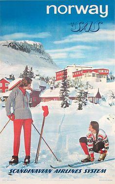 Poster: Norvège - Ski poster Artist: Photo: Arne W Normann Illustrations Vintage, Vintage Ski Posters, Nordic Skiing, Travel Ads, Air Travel, Original Vintage, Scandinavian Art, Vintage Advertisements, Photos