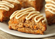 These Carrot Cake Scones are 100% whole grain and dairy-free.