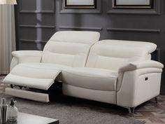Canapé 3 places relax électrique en cuir AVILA - Blanc