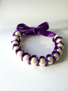 Pearl Ribbon Bracelet Dark Purple Ribbon Gift by DarlingBracelets, $9.99