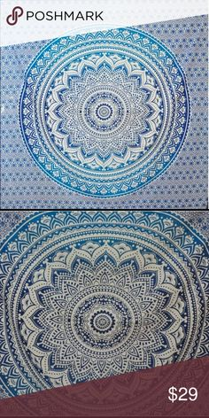 """Large Boho Tapestry 108""""x90"""" Mandala Tapestry. Would be great hanging on a wall, used as a table cloth,  laid out on the sand at the beach, or a bed cover! No holes in the tapestry, was hung using command strips. No residue left! Made of cotton. Not Urban Outfitters Urban Outfitters Accessories"""