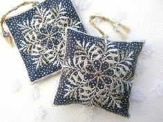 Snowflake lavender bag on blue by Pauline Thomas (1)a Cupboard Door Knobs, Lavender Bags, French Lavender, Metallic Thread, Custom Labels, Craft House, Textile Art, Home Crafts, Blue Grey