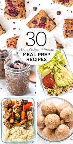 30 High Protein Vegan Meal Prep Recipes - Simply Quinoa Clean eating for the week has never been so EASY! Check out these 30 high protein vegan and vegetarian meal-prep recipes! Everything from breakfast, lunch, dinner, to on-the-go snacks! High Protein Vegan Snacks, High Protein Meal Prep, High Protein Recipes, Vegan Recipes Easy, Quinoa Protein, Protein Foods, High Protein Vegan Breakfast, Vegan On The Go Breakfast, High Protein Lunch Ideas