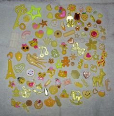 Yellow Destash Mix Lot of 100 Assorted Craft Goodies (Beads, Charms Kawaii Decoden Cabochons) by DesignsByDaffney, $12.75