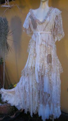 "RESERVED...vintage inspired shabby bohemian gypsy wedding dress ..large..to 46"" bust..express 4 day shipping... $275.00, via Etsy. Bohemian Style Clothing, Bohemian Chic Fashion, Gypsy Style, Gypsy Clothing, Romantic Fashion, Bohemian Gypsy, Cute Wedding Dress, Wedding Dresses, Gypsy Wedding"
