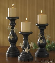 Blackstone Pillar Holders With Stars - S/3