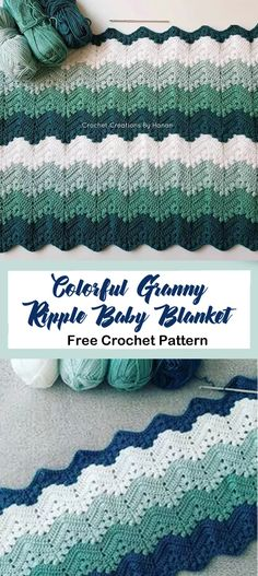 baby blanket free crochet pattern – granny ripple crochet pattern- pattern pdf -… - Knitting and Crochet Easy Knitting Projects, Crochet Projects, Knitting Ideas, Crochet Ideas, Crochet Crafts, Knit Crochet, Crochet Afghans, Booties Crochet, Hooked On Crochet