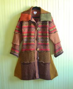 Autumn Colored Sweater Coat, Rust, Olive and Gold, Size Medium/Large by Brendaabdullah on Etsy https://www.etsy.com/listing/249102538/autumn-colored-sweater-coat-rust-olive
