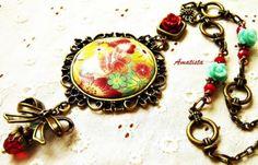 Collar vintage flores turquesa-granate-mostaza