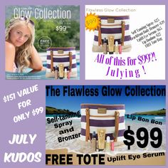 Flawless Glow Collection! JULY 2016 Kudos! $99, available July 1 through August 5, 2016 or while supplies last ONLY! Includes our Beachfront Self-Tanning Spray, Beachfront Body Bronzer (available in 3 shades), Uplift Eye Serum, Lip Bonbons Tinted Balm (available in 5 colors) and an exclusive Younique Beach Tote! A $151 value for only $99! #Younique #ClickImageToShop #SelectKudos #FlawlessGlowCollection #Questions #EmailMe sarahandbrianyounique@gmail.com