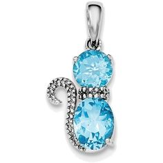Sterling Silver Rhodium-plated Blue Topaz and Diamond Cat Pendant ($42) ❤ liked on Polyvore featuring jewelry, pendants, cat pendant jewelry, diamond pendant jewelry, sterling silver diamond jewelry, cat pendant and sterling silver cat jewelry