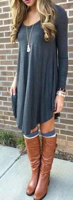 Outfit with boots Grey Plain Irregular Long Sleeve Casual Chic Style T-Shirt Looks I LOVE! Love the Layered Boots Socks! Grey Plain Irregular Long Sleeve Casual T-Shirt - T-Shirts - Tops Mode Outfits, Casual Outfits, Fashion Outfits, Womens Fashion, Fashion Trends, Fashionable Outfits, Dress Casual, Fashion Shirts, Fashion 2017