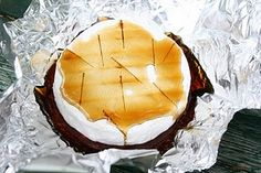Campfire Brie (with maple syrup and nuts) - yummy camping food!