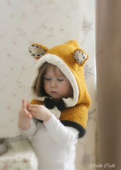 KNITTING PATTERN fox hood Roxy knitted flat baby toddler