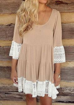 Welcome spring in comfort and style with this khaki lace-trim pleated loose-fit dress.