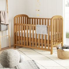 Harriet Bee This cot has a dropside that you can operate with one hand, making it easier to lift your baby in and out. the open design and curved ends give it an airy, classic feel and will complement your bedding choices. Sleigh Cot Bed, Travel Cot, Baby Room Design, Cot Bedding, Mattress Springs, Beds Online, Bed Reviews, Nursery Furniture, Wood Furniture
