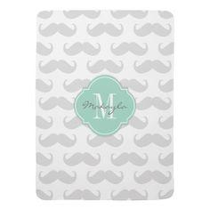 Light Gray Mustache Pattern with Monogram Stroller Blanket