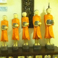 monk statues in the hotel. Bangkok Thailand