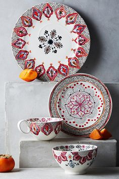 Temera Dinnerware. Add a painterly flourish to tabletops with this colourful collection, finished in artful violet hues