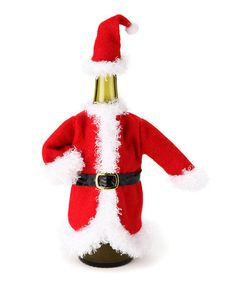 If I only drank wine ...  Take a look at this Santa Fleece Bottle Cover Set by Dennis East International on #zulily today!