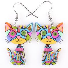 Silly Cool Cat Earrings Multicolored