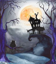 Halloween Night moon light with black cat and haunted house Looks like Tim Burton sketch I love this!
