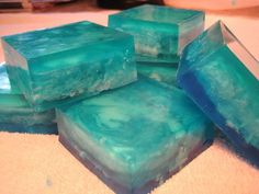 """Instructions to make a cool water swirled melt and pour soap project. You can use your own artistic eye to combine colors, layers, and style for this soap.: Finished Bars of """"Cool Water"""" Melt and Pour Soap Project Soap Melt And Pour, Soap Making Supplies, Soap Maker, Homemade Soap Recipes, Bath Soap, Glycerin Soap, Castile Soap, Cold Process Soap, Soap Molds"""