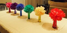Paper flower decorations at a Art Party #artparty  #decorations